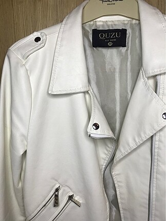 l Beden Beyaz Deri Ceket