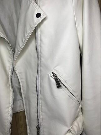l Beden beyaz Renk Beyaz Deri Ceket