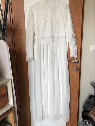 Tesettür Beyaz elbise