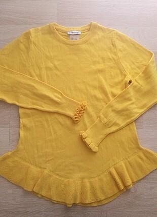 Sarı fırfırlı kazak
