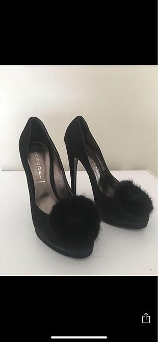 Siyah süet ince topuklu abiye ayakkabı
