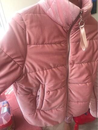 Zeynep Tekstil Kadife mont pudra pembe