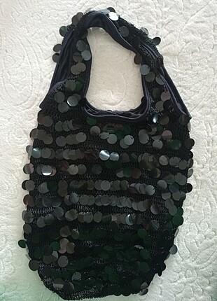 Payetli örme çanta