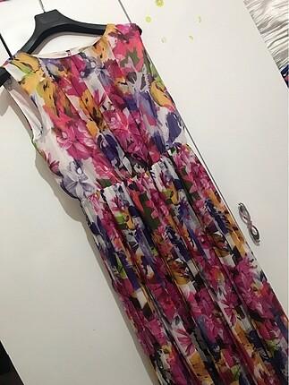42 Beden Beli lastikli uzun yazlık elbise