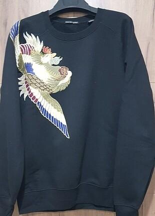 L beden nakış işlemeli sweatshirt
