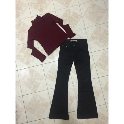 İspanyol paça pantolon ve kombini tarz triko