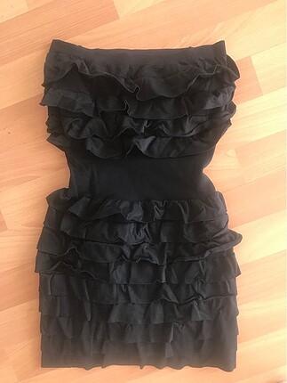 Straplez Belden korseli mini elbise