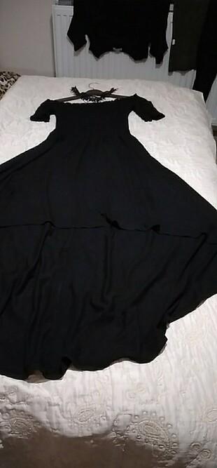 Asimetrik kesim madonna yaka uzun elbise