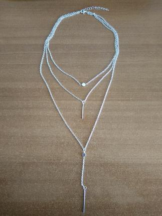 Üçlü silver kolye