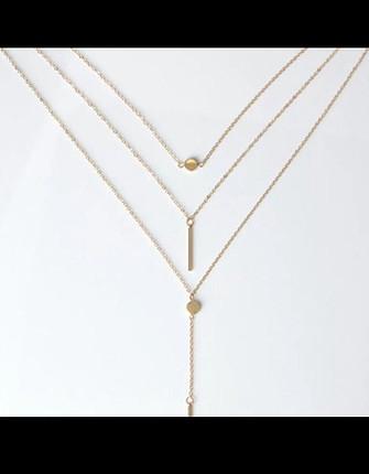 Gold üçlü zincir kolye