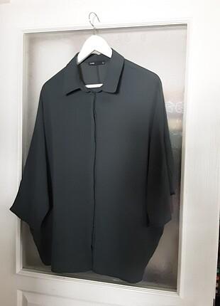 Batik yarasa kol salaş haki gömlek