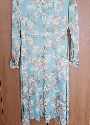 Renkli yazlık saten gömlek kumaş elbise