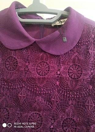 44 Beden Pileli güpür detaylı elbise