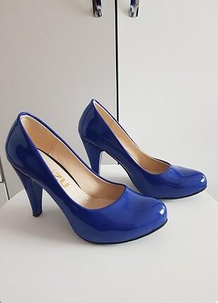 Sak mavi rugan ayakkabı