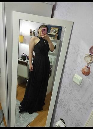 Siyah simli gece elbisesi