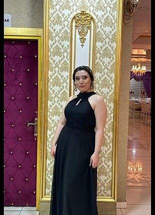 l Beden siyah Renk Siyah simli gece elbisesi