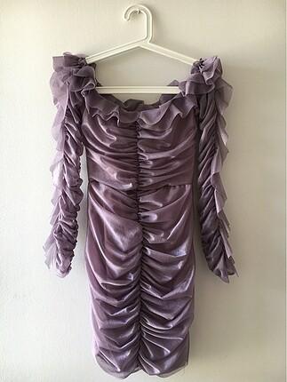 Trendyolmilla gül kurusu drape detaylı elbise