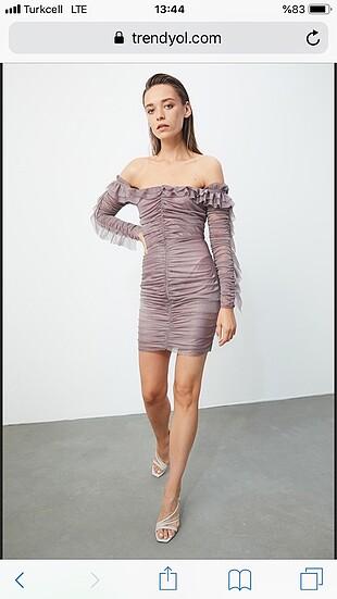 34 Beden mor Renk Trendyolmilla gül kurusu drape detaylı elbise