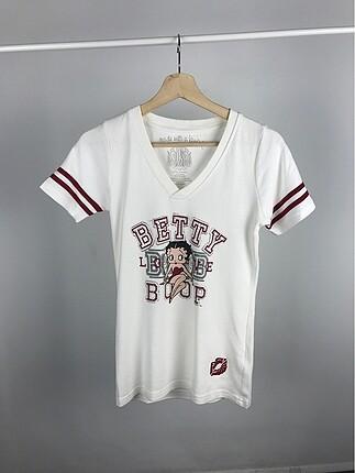 V yaka Betty Boop tişört