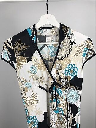 Diğer Desenli Kimono Elbise