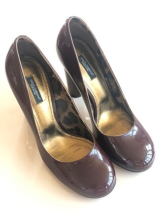 Dolce & Gabbana bordo rugan topuklu ayakkabı