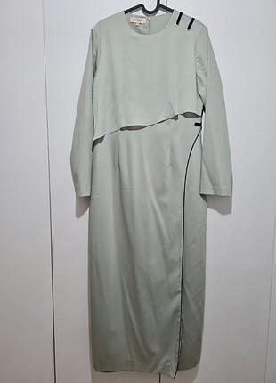 Kayra mint taş rengi Tül detaylı spor şık elbise