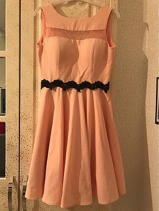 Mini pudra pembe abiye elbise
