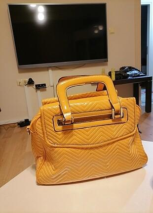 Sarı renk deri çanta