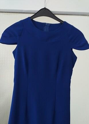 Saks mavisi kalem elbise
