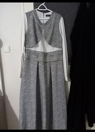 Uzun leopar desenli şık elbise