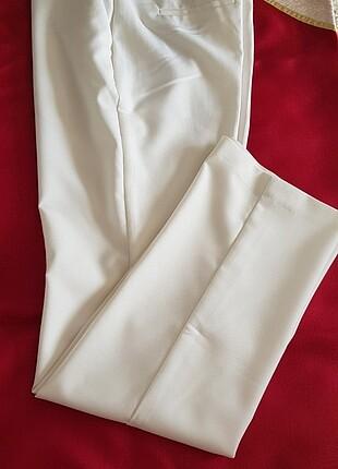 Krem Rengi Kumaş Pantolon