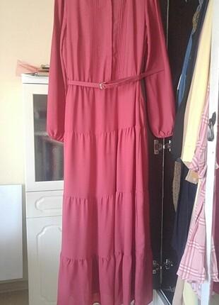 Pembe tesettür günlük elbise