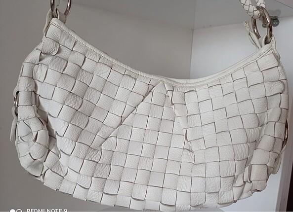 Enzo Angiolini beyaz deri çanta