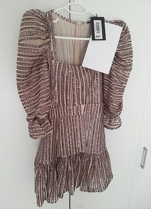 xs Beden Çok Renkli Payetli Elbise