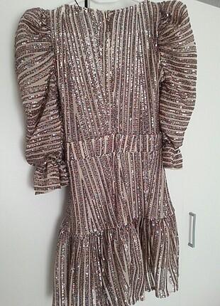 xs Beden altın Renk Çok Renkli Payetli Elbise