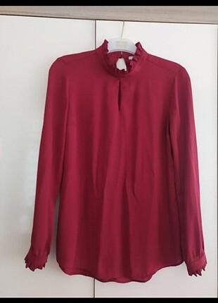Yakası büzgülü gömlek bluz