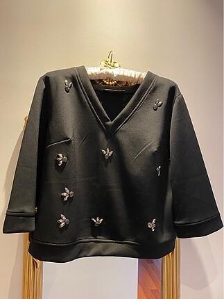 Setrems marka siyah taşlı bluz
