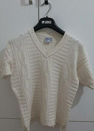 Kadın örgü vintage bluz