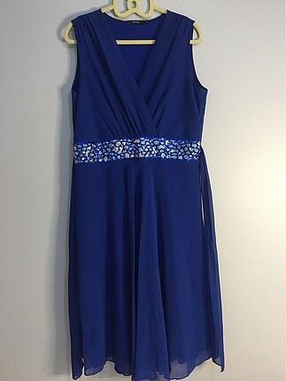Kadın abiye midi mavi elbise