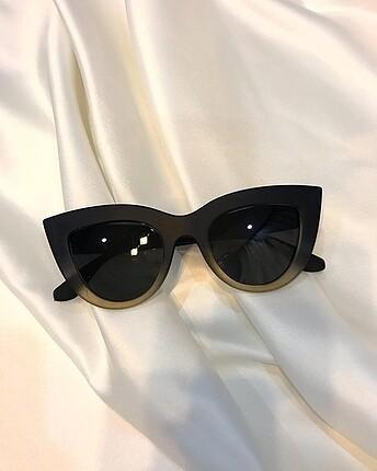 Mat siyah Sarı Cat Eye Güneş Gözlüğü
