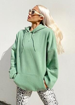 Oversize kalıp içi pamuklu sweatshirt