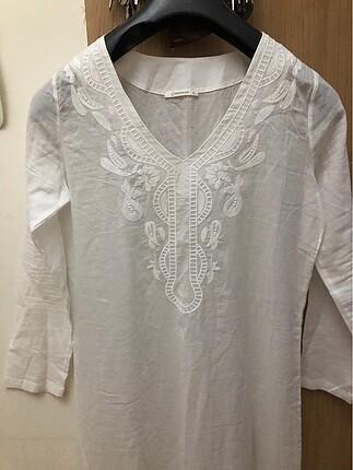 Uzun poplin yazlık etnik elbise