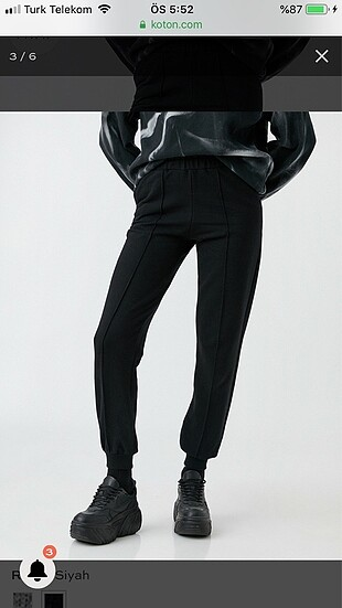 Jogger Eşofman Altı Cepli Pamuklu Siyah