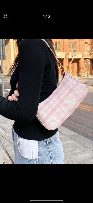 pembe baget omuz çantası