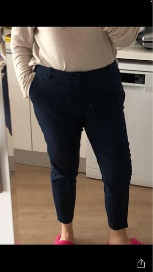 44 Beden Koyu lacivert likralı kumaş pantolon