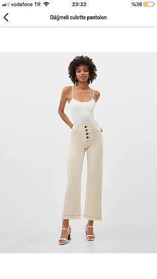 Bershka düğmeli culotte pantolon