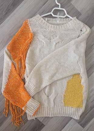 Butik ürünü turuncu kırcıl detaylı kazak