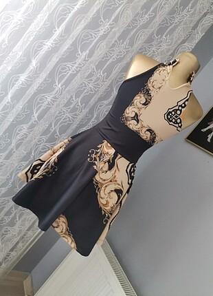 Desenli abiye esnek elbise