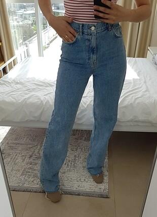 Bol paça Straight yüksek bel Zara jean