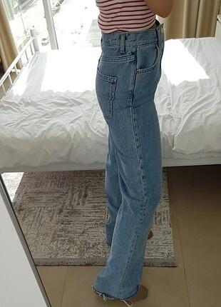 36 Beden mavi Renk Bol paça Straight yüksek bel Zara jean